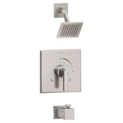 Duro 1-Handle Wall-Mount Tub/Shower Trim Kit in Satin Nickel (Valve Not Included)