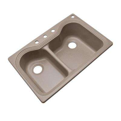 Breckenridge Dual Mount Composite Granite 33 in. 4-Hole 60/40 Double Bowl Kitchen Sink in Desert Sand