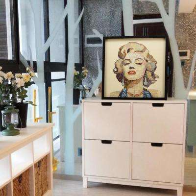 """25 in. x 25 in. """"Homage to Marilyn"""" Dimensional Collage Framed Graphic Art Under Glass Wall Art"""