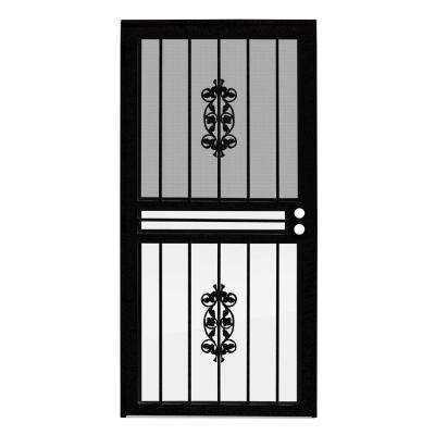 36 in. x 80 in. Rambling Rose Black Recessed Mount All Season Security Door with Insect Screen and Glass Inserts