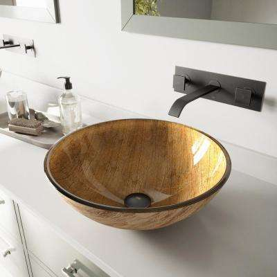 Glass Vessel Bathroom Sink in Amber Sunset with Titus Wall-Mount Faucet Set in Antique Rubbed Bronze