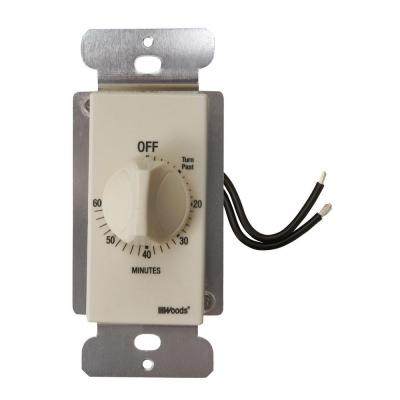 20-Amp 60-Minute In-Wall Spring Wound Countdown Timer Switch, Almond