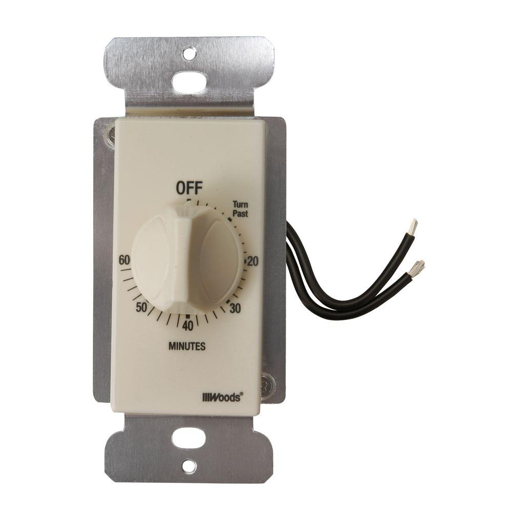 Timer for bathroom exhaust fan - Woods 60 Minute In Wall Spring Wound Countdown Timer Mechanical Wall Switch Light