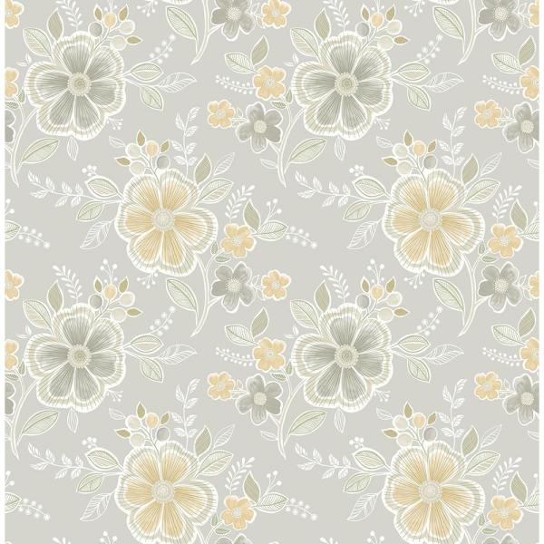 A-Street Chloe Honey Floral Wallpaper Sample 2657-22204SAM