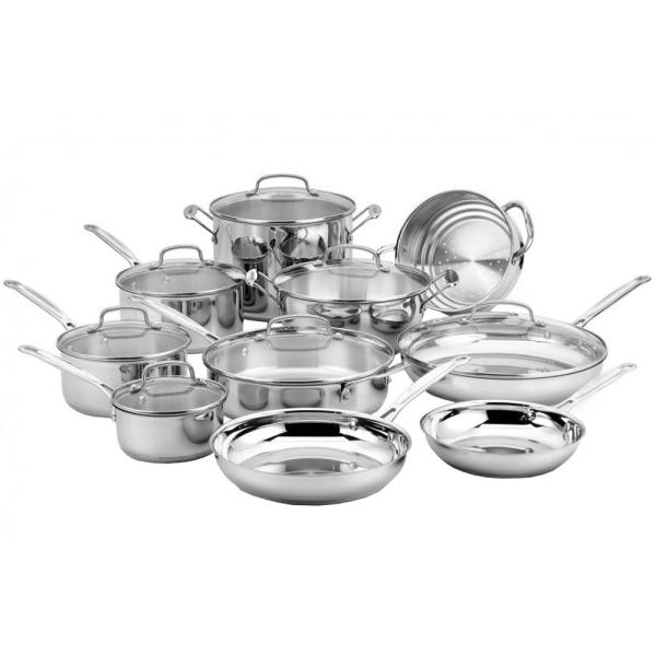 Cuisinart Chef's Classic Stainless Steel 17 Piece Cookware Set with Lids