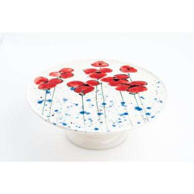 Fiori Poppies Serving Plate on Stand