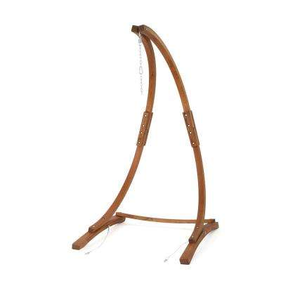 3.94 ft. Larch Wood Hammock Stand in Teak Brown