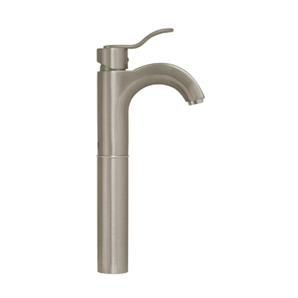 Single Hole 1-Handle Elevated Bathroom Faucet in Brushed Nickel