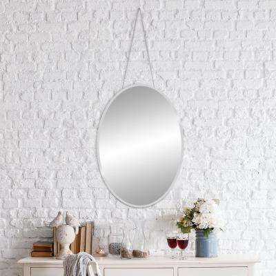 Bevelead Hanging Chain Oval Silver Wall Mirror