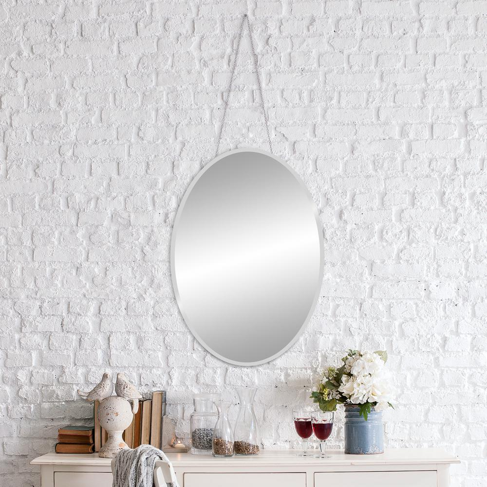 Pinnacle Pinnacle Bevelead Hanging Chain Oval Silver Wall Mirror