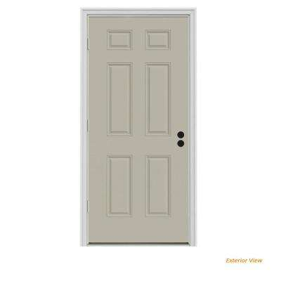 30 in. x 80 in. 6-Panel Desert Sand Painted Steel Prehung Right-Hand Outswing Front Door w/Brickmould