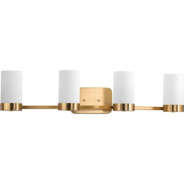 Elevate Collection 4-Light Brushed Bronze Bathroom Vanity Light with Glass Shades