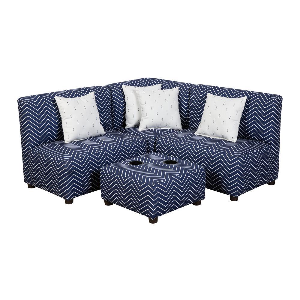 Jack Juvenile Kids Indigo Navy Blue and White Upholstered Sectional Sofa
