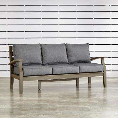 Verdon Gorge Gray 1-Piece Oiled Wood Outdoor Sofa with Gray Cushions