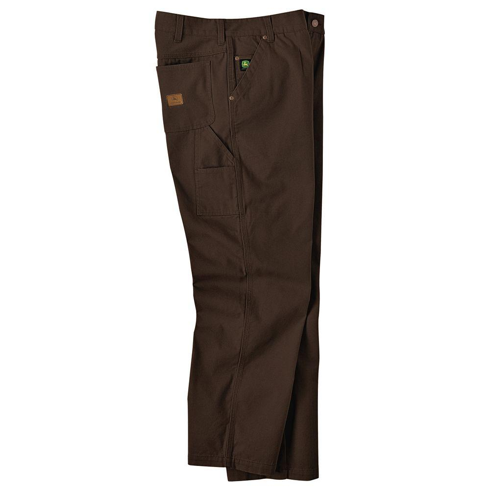 John Deere 38 in. x 32 in. Brushed Duck Utility Jean in Bark Brown-DISCONTINUED