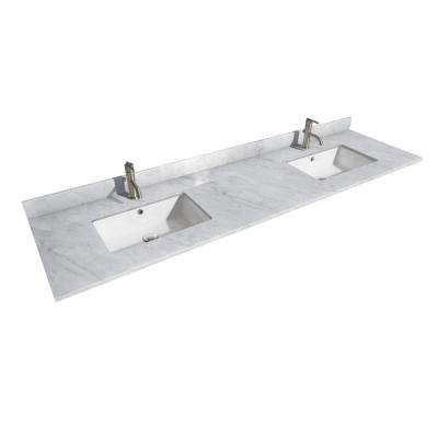 Daria 80 in. W x 22 in. D Marble Double Basin Vanity Top in White with White Basin