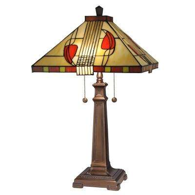 27 in. Henderson Copper Bronze Finish Table Lamp with Tiffany Art Glass Shade