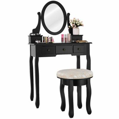 2-Piece Black Vanity Table Set Bedroom Set Makeup Table Cushioned Stool Mirror (5-Drawers)
