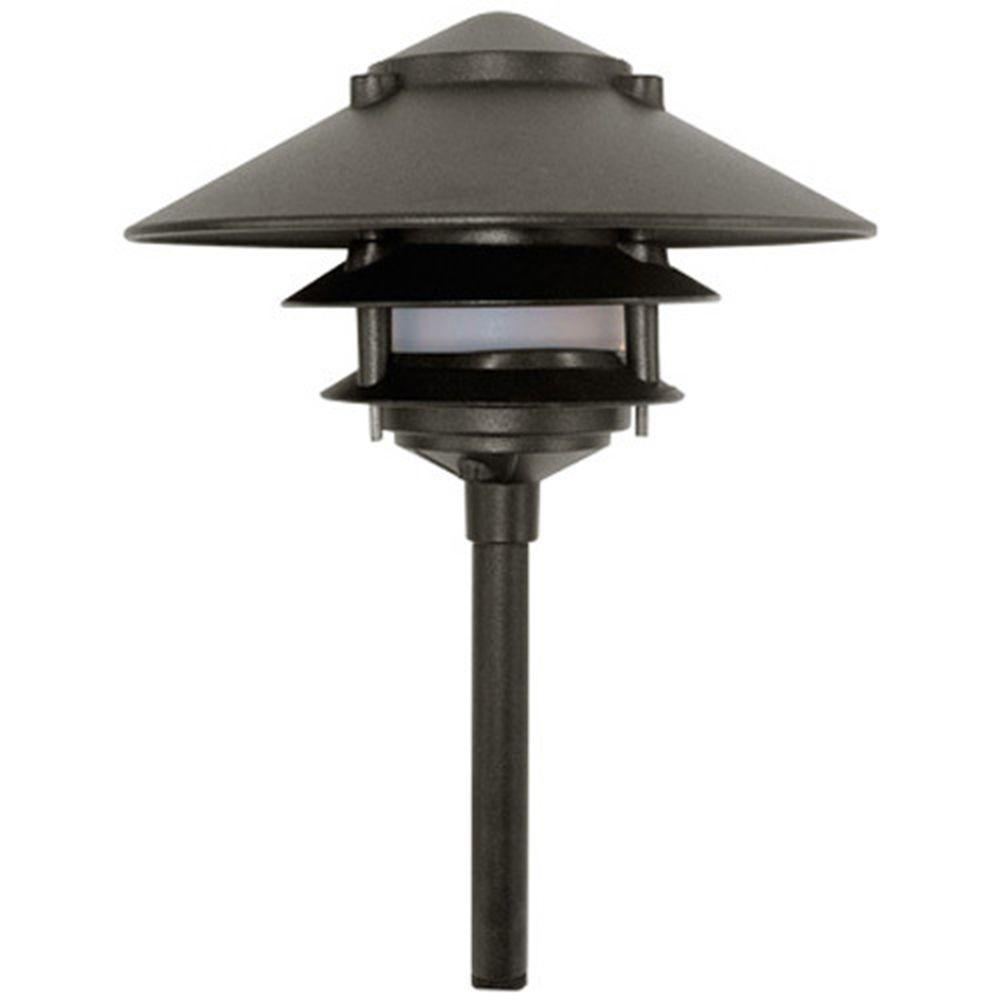 Corbin 1-Light Black 3-Tier Outdoor Pagoda Pathway Light