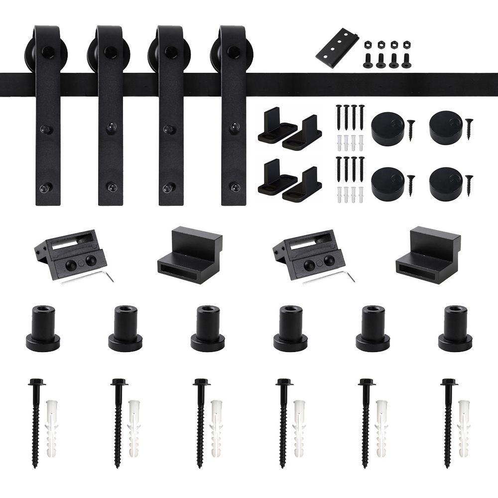 Winsoon 96 In Frosted Black Sliding Barn Door Hardware Track Kit For Double Doors With Non Routed Floor Guide