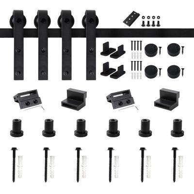 96 in. Frosted Black Sliding Barn Door Hardware Track Kit for Double Doors with Non-Routed Floor Guide