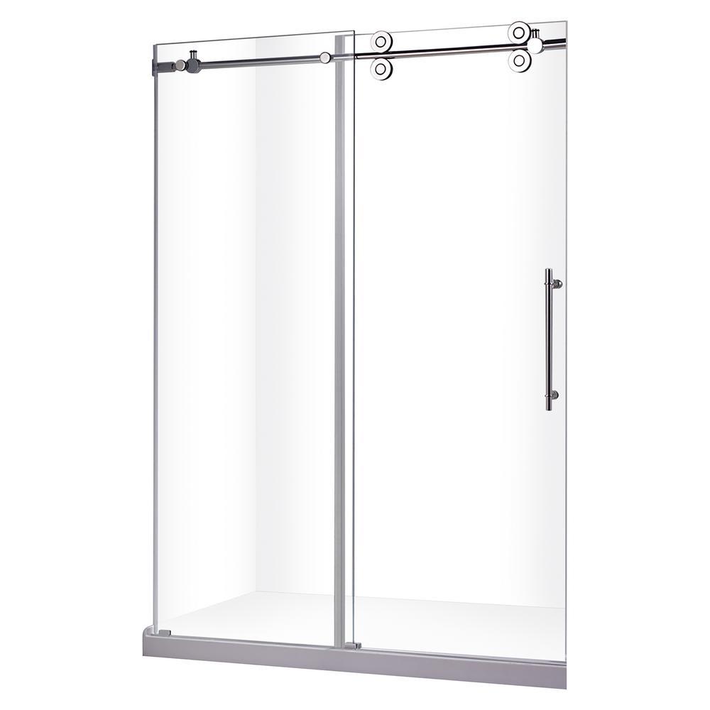 Zirkon 48 in. x 79 in. Frameless Sliding Shower Door in Chrome