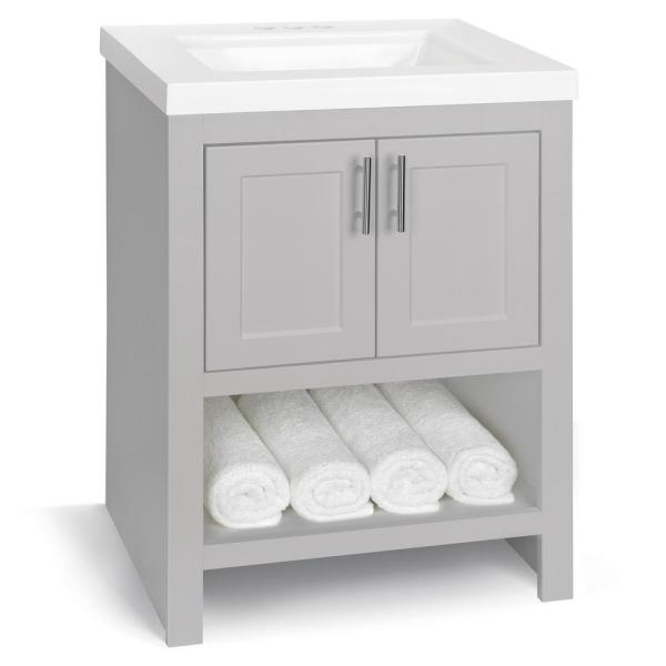 Glacier Bay Spa 24 In W X 18 75 In D Bath Vanity In Dove Gray With Cultured Marble Vanity Top In White With White Sink And Mirror Ppspadvr24my The Home Depot