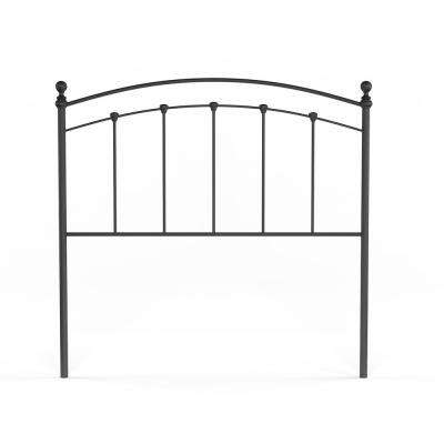 Sanford Full-Size Metal Headboard with Castings and Round Finial Posts in Matte Black