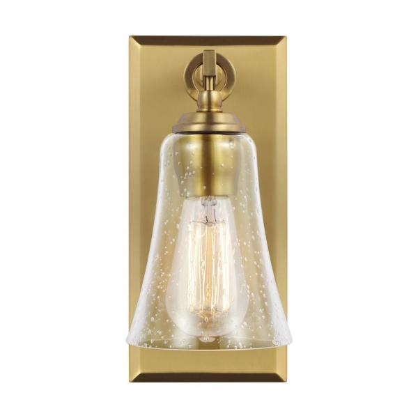 Monterro 5 in. W. 1-Light Burnished Brass Wall Sconce with Clear Seeded Glass Shade