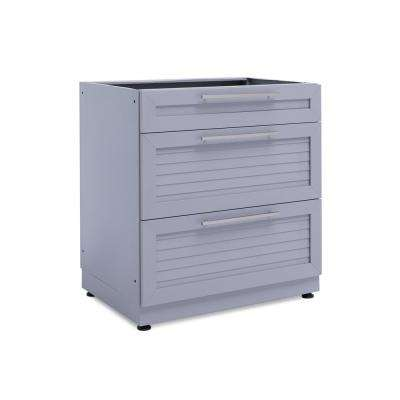 Coastal Gray 32 in. 3 Drawer 32 in. W x 36.5 in. H x 24 in. D Outdoor Kitchen Cabinet