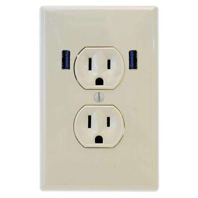 15 Amp Standard Duplex Wall Outlet with 2 Built-in USB Charging Ports - Light Almond