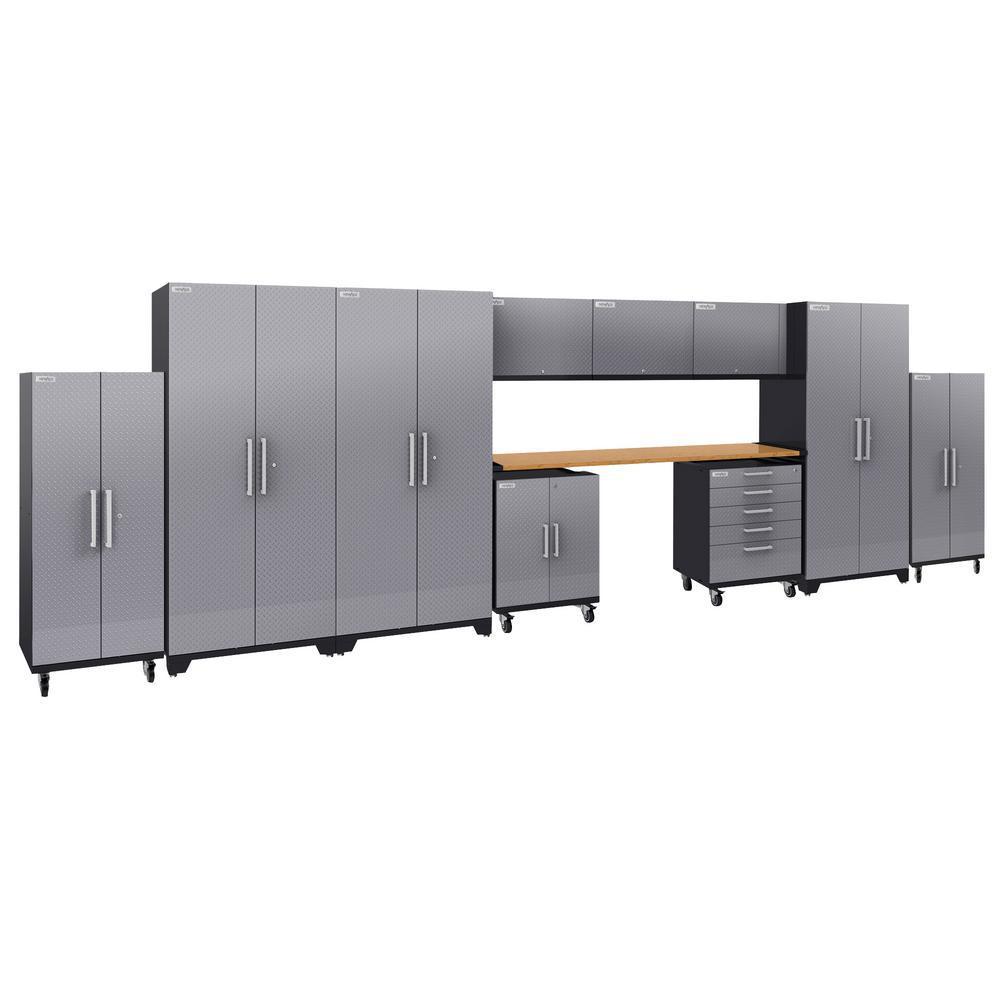 Performance Plus Diamond Plate 2.0 80 in. H x 253 in. W x 24 in. D Garage Cabinet Set in Silver (11-Piece)