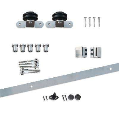 80 in. Stainless Steel Top-Mount Sliding Barn Door Hardware with Floor T-Guide
