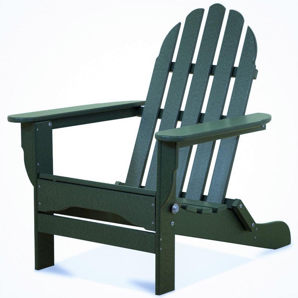 Icon Forest Green Plastic Folding Adirondack Chair