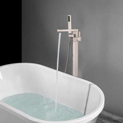 34 in. H x 12 in. W Single Handle Claw Foot Tub Faucet with Hand Shower in Brushed Nickel