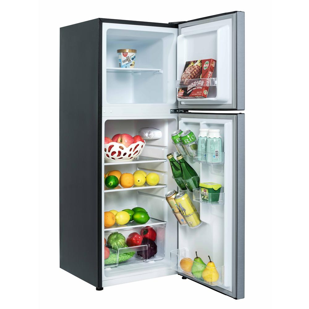 Magic Chef 4 8 Cu Ft 2 Door Mini Fridge In Stainless Look With Freezer Hmdr480se The Home Depot