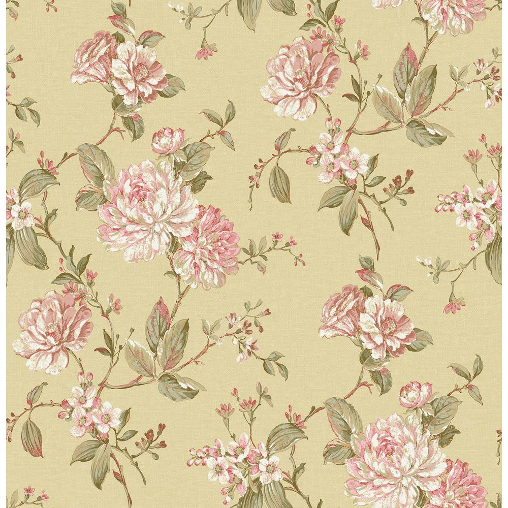 Brewster Mandir Mustard Floral Trails Wallpaper Sample 2734