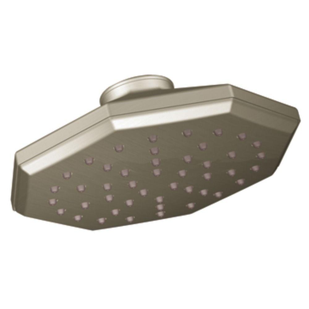 Felicity 1-Spray 7 in. Rain Shower Fixed Shower Head in Brushed