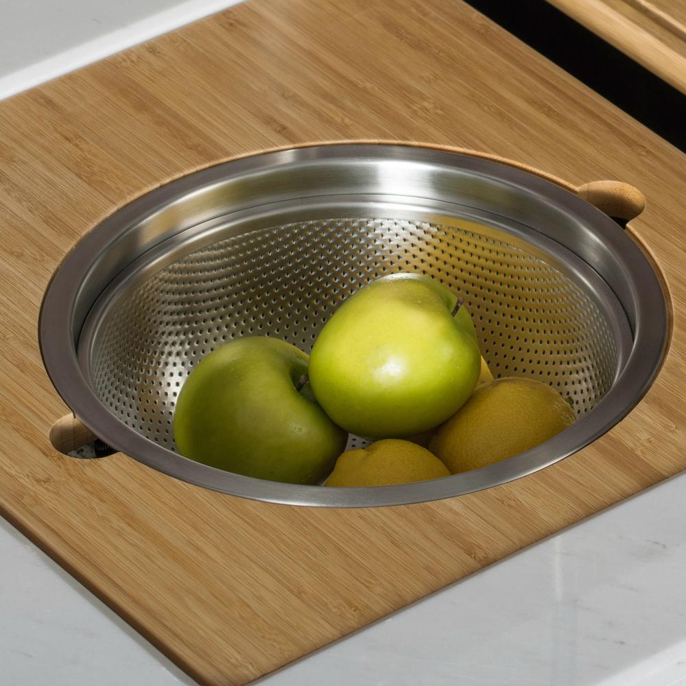 16.75 in. Workstation Kitchen Sink Serving Board Set with Stainless Steel Colander