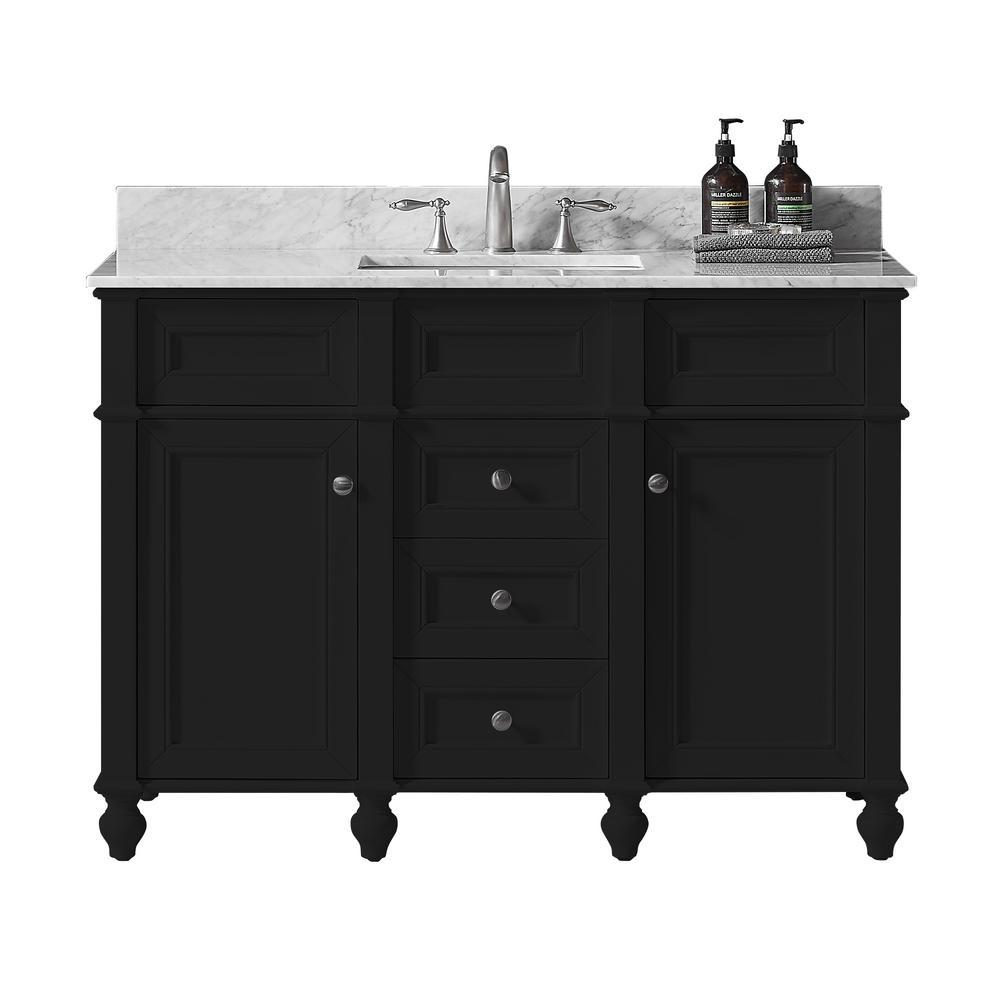 Margaux 48 in. W x 22 in. D x 34.2 in. H Bath Vanity in Espresso w/ Carrara Marble Vanity Top in White w/ White Basin