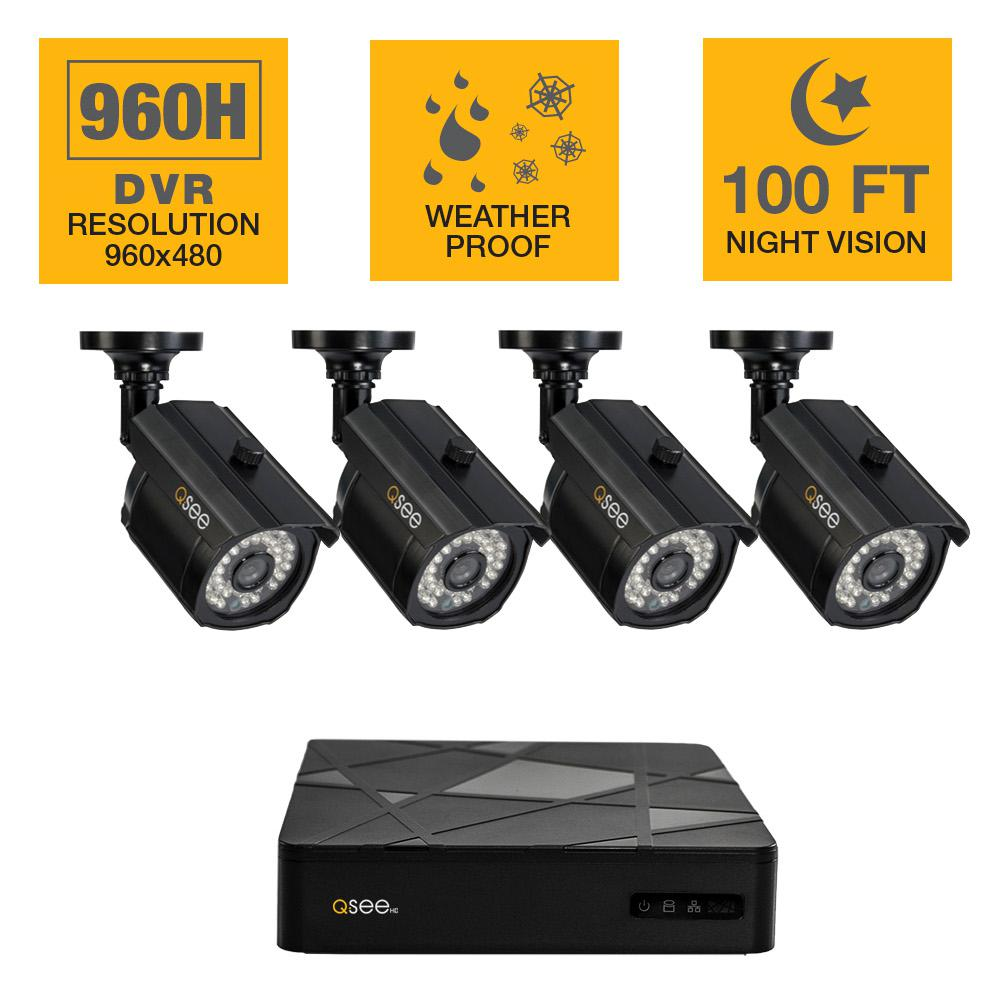 Q-SEE 4-Channel 960H 500GB Surveillance System with (4) Bullet Cameras and 100 ft. Night Vision