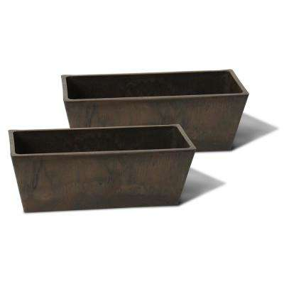 Valencia 14 in. Windowsill Brown Marble Plastic Planter - (2-pack)