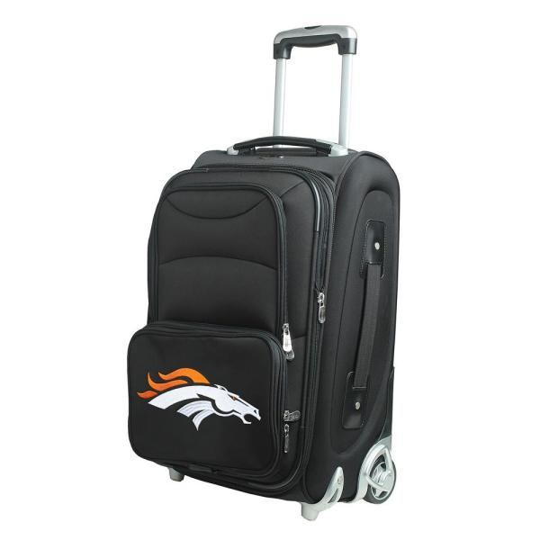 Denco NFL Denver Broncos 21 in. Black Carry-On Rolling Softside Suitcase