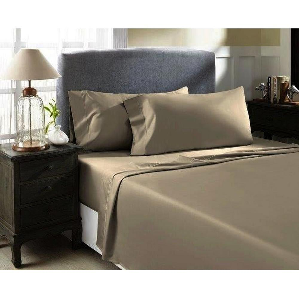Devonshire Collection Of Nottingham Warm Taupe T1200 Solid Combed Cotton Sa King Sheet Set T1200k Pl Wmtp The Home Depot