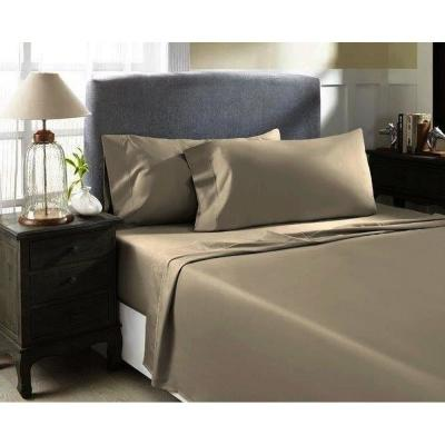 Warm Taupe T1000 Solid Combed Cotton Sateen King Sheet Set