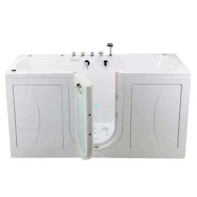 80 in. Big4Two Walk-In Whirlpool, Air, MicroBubble, Foot Massage Tub in White, Outward Swing Door, Faucet, Dual Drain