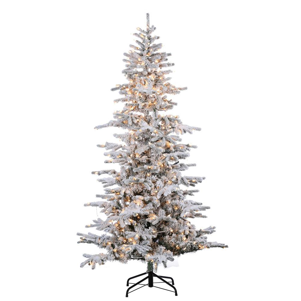 Sterling 9 ft. Pre-Lit Flocked Cambridge Fir Christmas ...