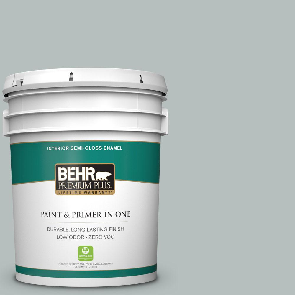 BEHR Premium Plus 5 gal. #720E-3 Rocky Mountain Sky Semi-Gloss Enamel Zero VOC Interior Paint and Primer in One