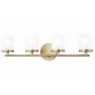 Ryan 4-Light Aged Brass Bath Light with Clear Frosted Glass Shade