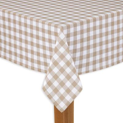 Buffalo Check 60 in. x 120 in. Sand 100% Cotton Table Cloth for Any Table